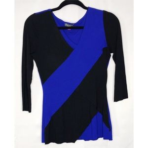 Vince Camuto Xs blue black 3/4 sleeve blouse